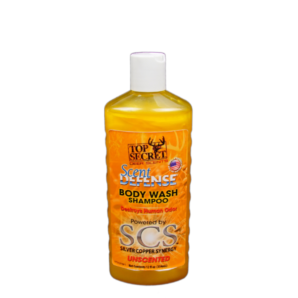 Scent Defense Body Wash Shampoo Unscented Front of Bottle